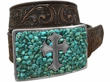 Nocona Brown Belt with Turquoise Stain Buckle 3423002