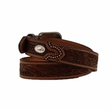 Nocona Embossed Leather Oval Concho Belt 2427808