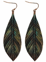 Blazin Roxx Feather Patina Earrings 30836