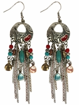 Blazin Roxx Multicolor Dangle Chain Earrings 29048