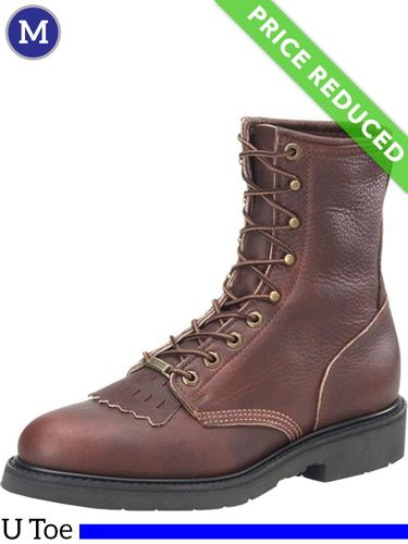 11.5 Wide Men's Double-H Dark Brown Work Lacer Boots 9714, CLEARANCE