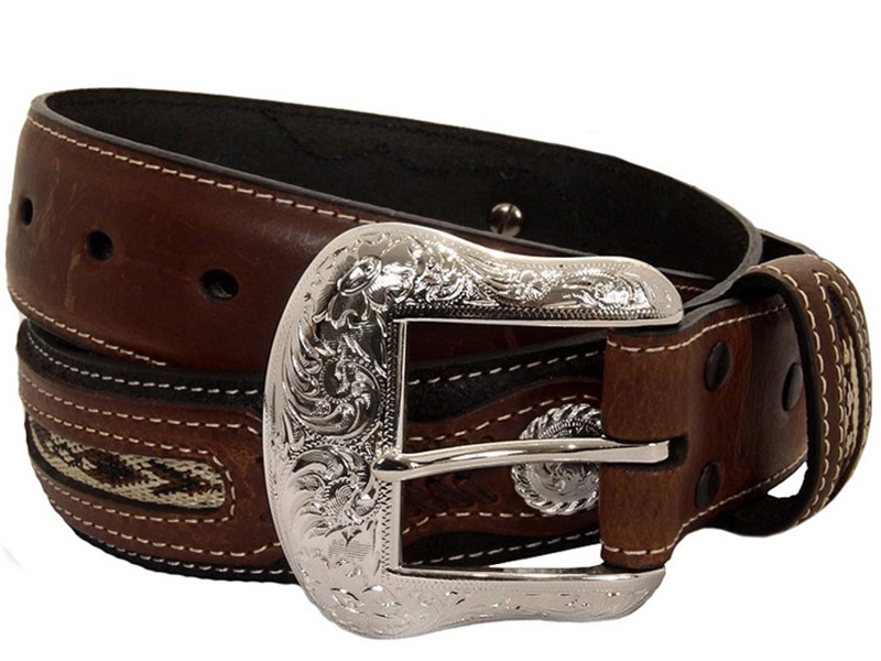 Mens Western Belt With Conchos And Fabric Inset By Nocona Co 2475701