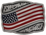 Montana Silversmiths Classic Painted Waving American Flag Attitude Buckle A590P