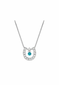 DISCONTINUED 2019/12/04  Montana Silversmiths Crystal Horseshoe with Turquoise Necklace NC61523TQ
