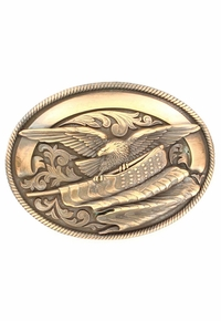 Nocona Bronze Oval American Eagle Buckle 37024