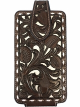 Nocona Dark Chocolate Floral Tooled Phone Case with White Leather Inlays 0689492