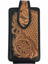 Nocona Tan Leather Floral and Basket Tooled Phone Case 0689308