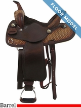"PRICE REDUCED! 14"" Big Horn Antiqued Racer Saddle 1586, Floor Model"