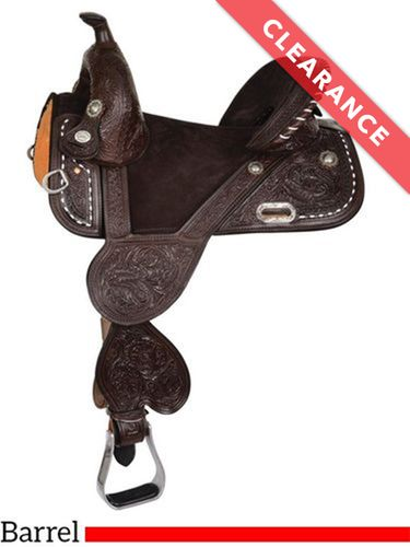 "16.5"" Circle Y Tammy Fischer Buckstitch Short Horn Treeless Barrel Saddle 1314W, CLEARANCE"