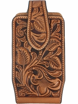 Nocona Tan Leather Floral Tooled Phone Case 0689108