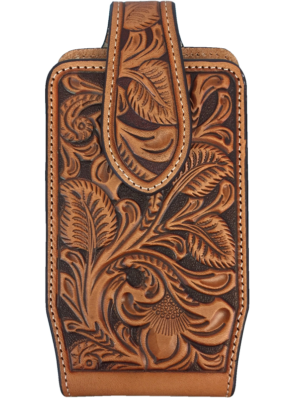 huge discount 238be 59a9f Nocona Tan Leather Floral Tooled Phone Case 0689108