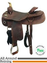 "16"" Used Big Horn Working Cowhorse All Around Reining Saddle 860 usbh4297 *Free Shipping*"