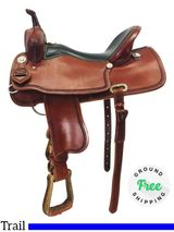 "17"" Used Crazy W Ranch Custom Trail Saddle uscw4289 *Free Shipping*"