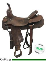 "PRICE REDUCED! 17"" Used Wes Fanning Custom Cutting Saddle uswf4264 *Free Shipping*"