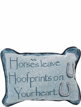 Western Home Decor Pillow Horses Leave Footprints in Your Heart 87-3838