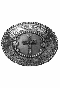 Western Products Oval Crystal Edge Cross Buckle 3756842C