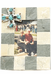 Western Slate 4 x 6 Picture Frame with Turquoise Cross 94107