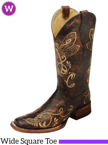 Women's Circle G by Corral Distressed Brown-Bone Dragonfly Embroidery Boots L5079