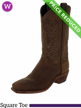 Women's Abilene Olive Brown Oiled Cowhide Western Boots 9011 CLEARANCE