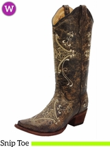 Women's Circle G by Corral Black Crackle Bone Embroidery Boots L5048