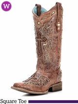 Women's Circle G by Corral Bone Inlay Cross Boots C2856