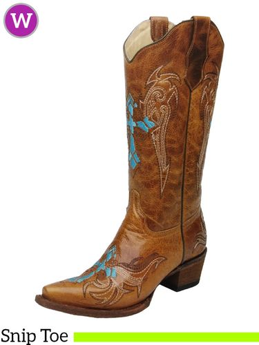 Women's Circle G by Corral Cognac & Turquoise-Beige Wing & Cross Boots L5104