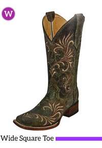 Women's Circle G by Corral Distressed Green Beige Filigree SQ Toe Boots L5194