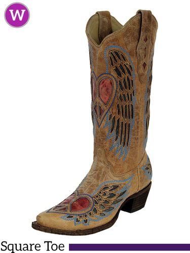 Women's Corral Vintage Red and Blue Winged Heart Boots A1976