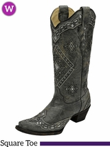 Women's Corral Black & Silver Glitter Inlay Boots A2963
