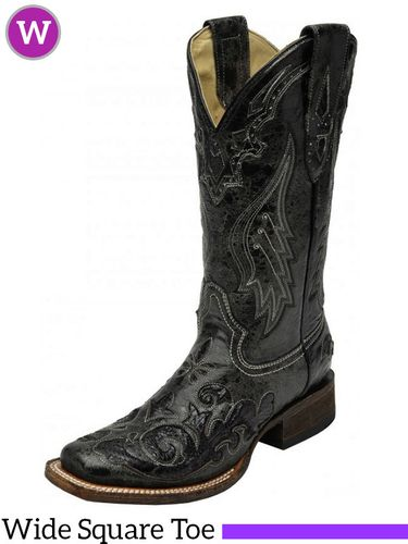 Women's Corral Black Snake Inlay Boots A2402