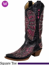 7B, 7.5B, 8.5B, 8C, 9C Women's Corral Black & Pink Winged Cross Boots With Studs & Crystals A1049