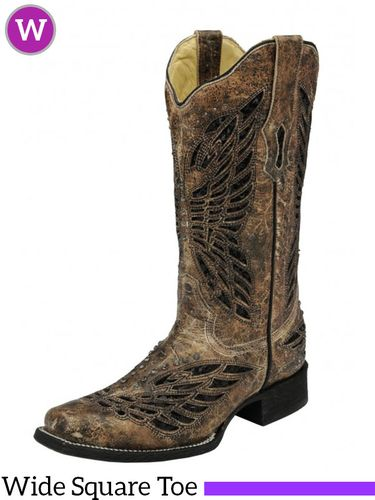 Women's Corral Bronze & Black Sequence Crystals Butterfly Square Toe R1226