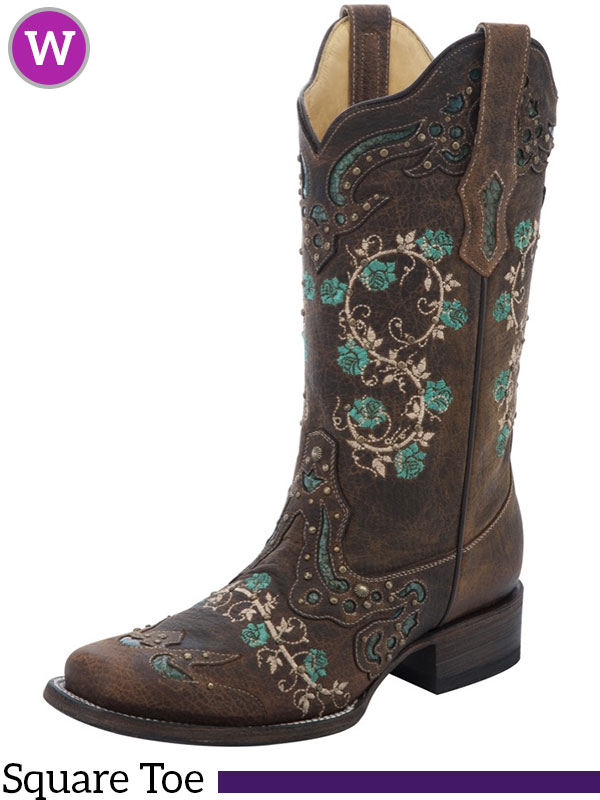 6f673ad1c6d Women's Corral Brown & Turquoise Floral Boots R1373