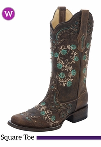 Women's Corral Brown & Turquoise Floral Boots R1373