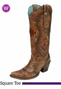 9B  Women's Corral Cognac/ Multicolor Ethnic Pattern & Whip Stitch Boots C2872 ZDS