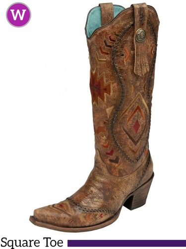 9B  Women's Corral Cognac/ Multicolor Ethnic Pattern & Whip Stitch Boots C2872