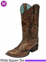 Women's Corral Ethnic Patter & Whip Stitch Square Toe Boots C2915