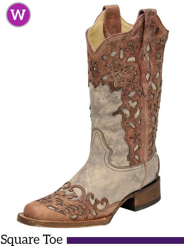 357309cf051 Women's Corral Sand/ Cognac Laser Overlay Square Toe Boots A2870
