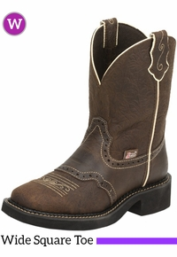 6.5B Women's Justin Mandra Brown Flower Embossed Gypsy� Boots L9618