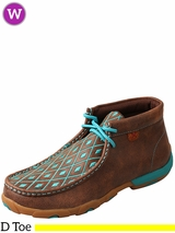Women's Twisted X Brown/Turquoise Driving Moccasins WDM0072