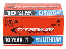 Titanium Innovations CR123A (12PK) 1600mAh 3V 3A Lithium Primary (LiMNO2) Button Top Photo Batteries, 2 Pack Rapid Reload Shrink - Box of 12