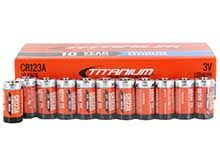 Titanium Innovations CR123A (50PK) 1600mAh 3V 3A Lithium Primary (LiMNO2) Button Top Photo Batteries - Box of 50