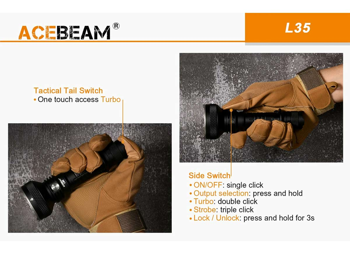 ACEBEAM L35 SLIDE ABOUT DUAL SIDE AND TAIL SWITCHES