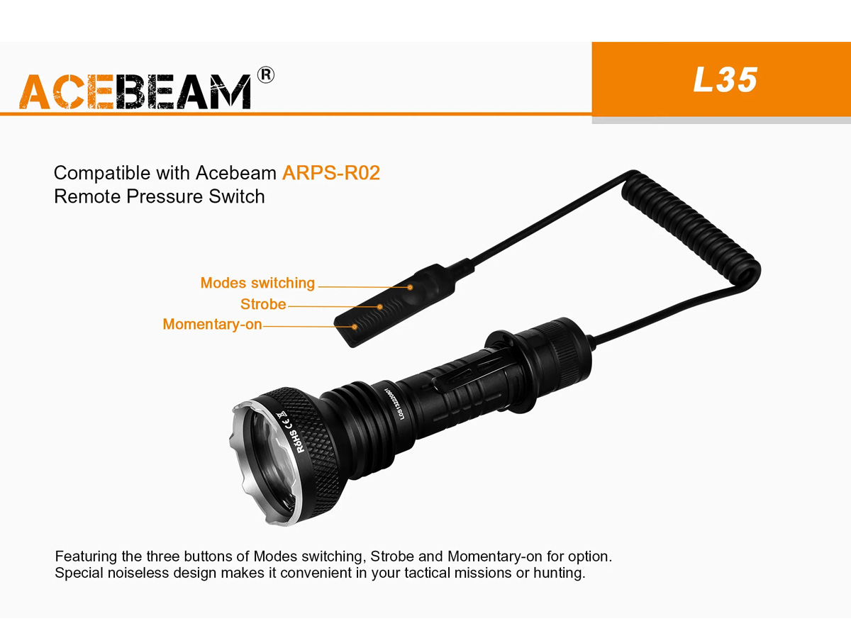 ACEBEAM L35 SLIDE ABOUT TACTICAL ACCESSORY COMPATIBILITY