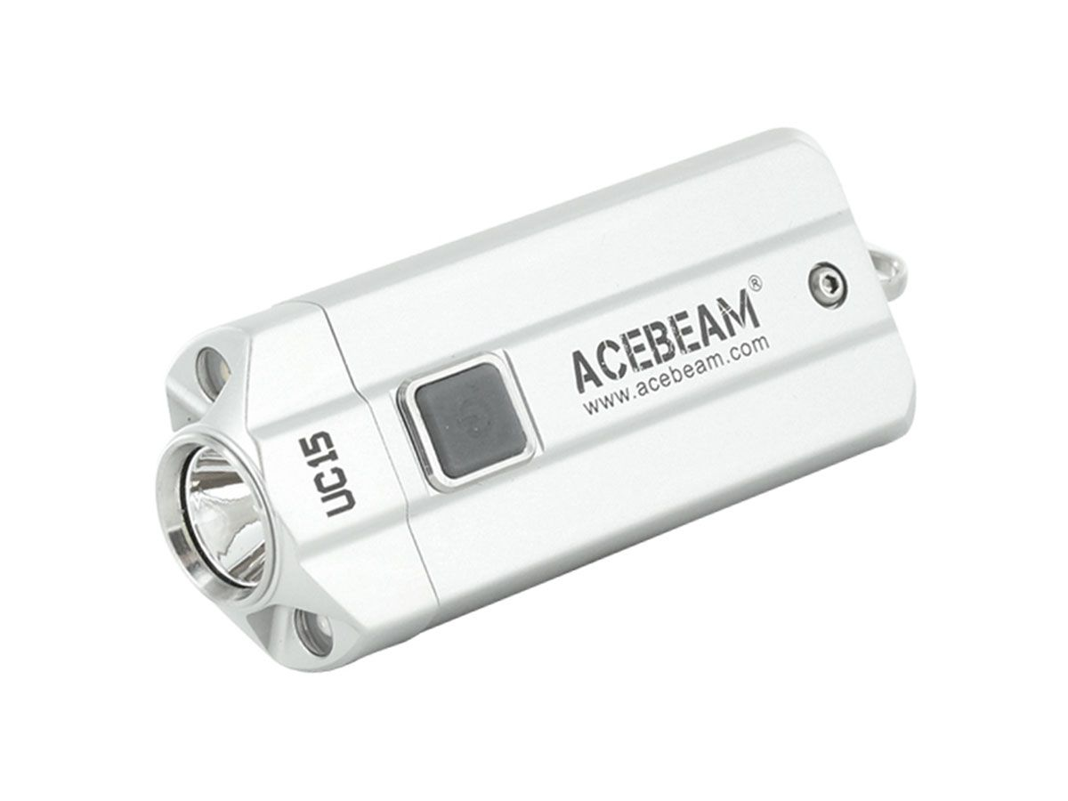 Acebeam UC15 silver angled down and to the left