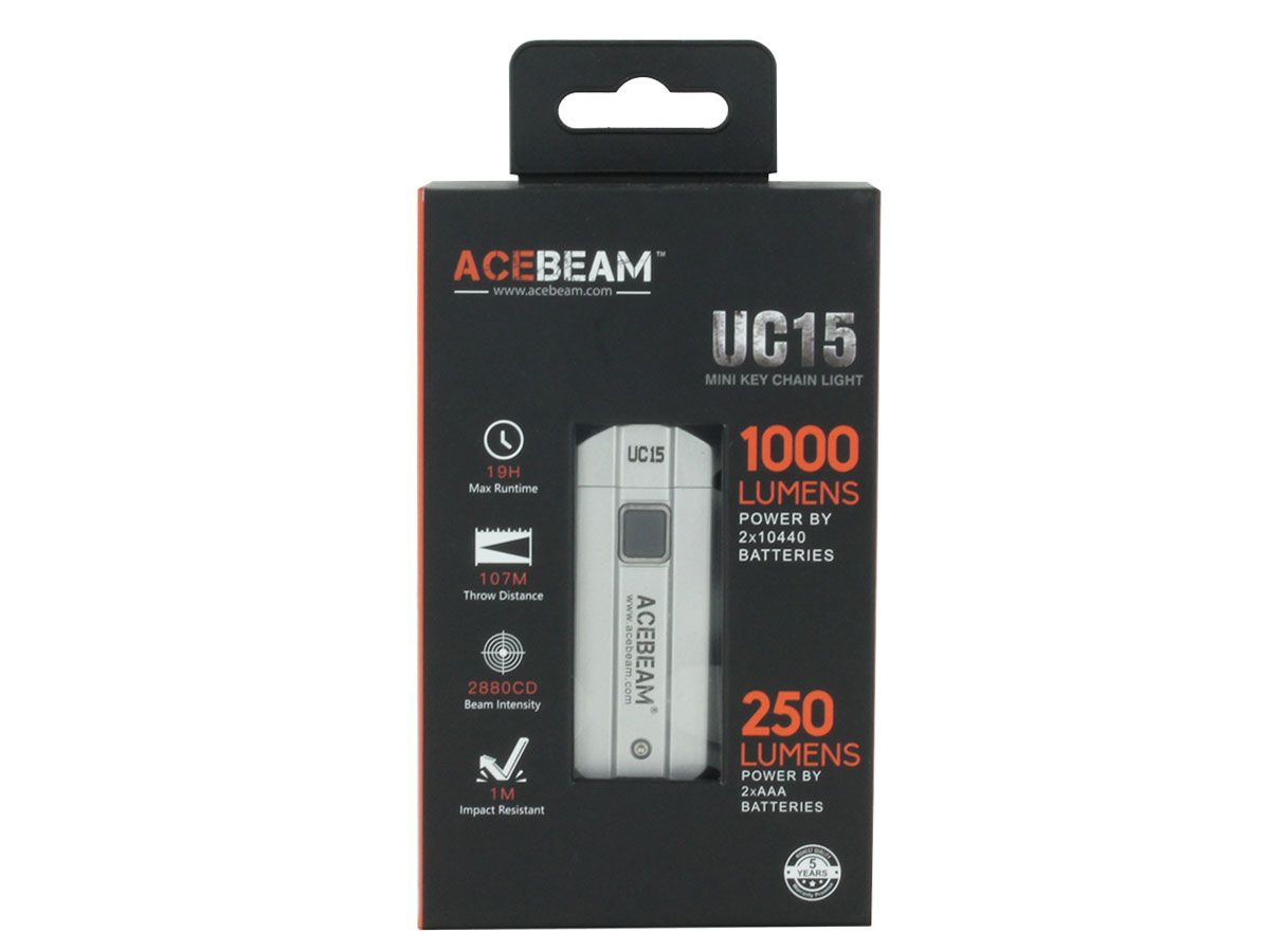 Acebeam UC15 silver packaging - front