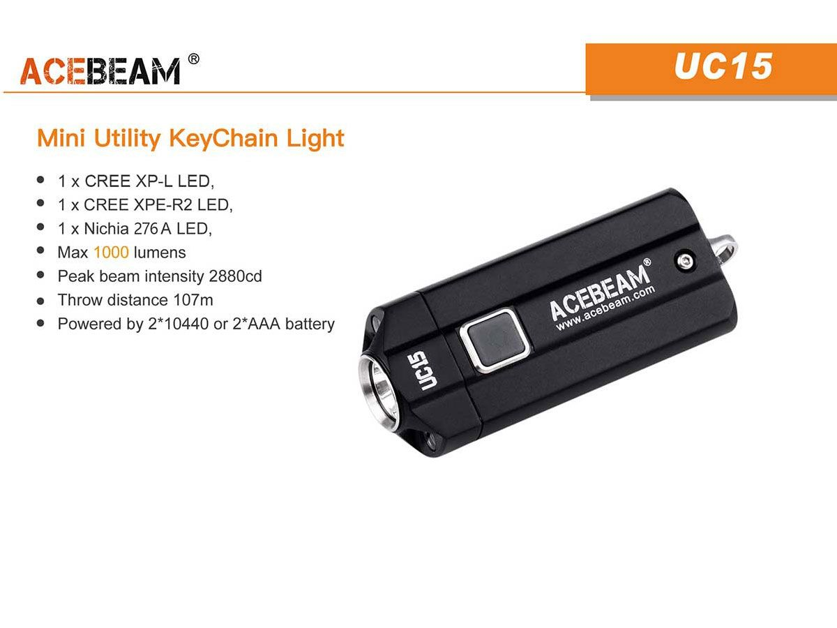 Acebeam UC15 slide for main features