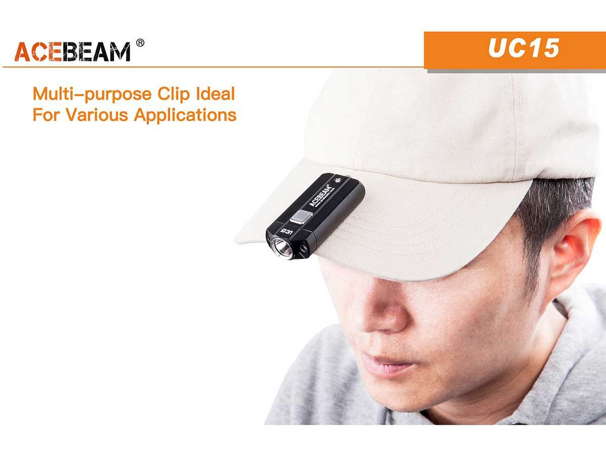 Acebeam UC15 slide for carrying option - on hat
