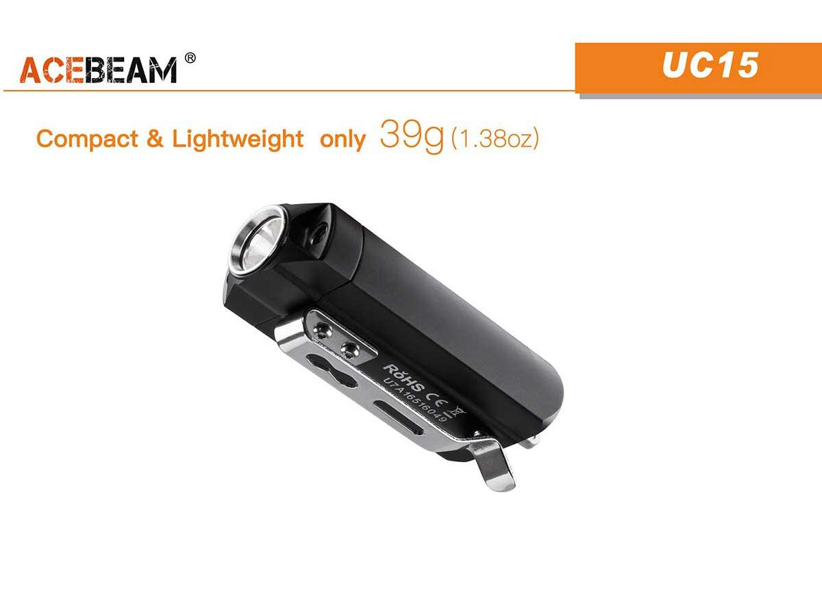 Acebeam UC15 slide for weight and measurement