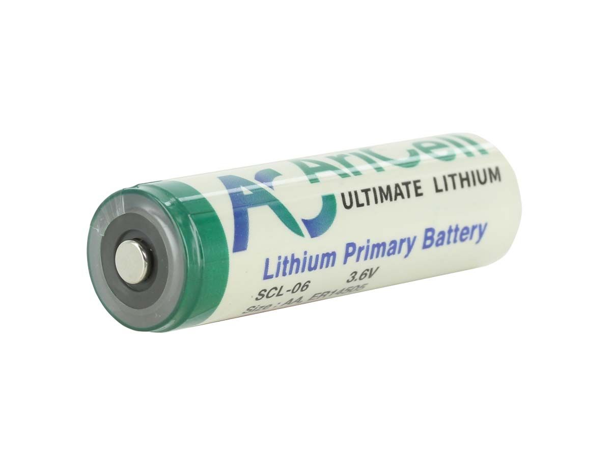 AriCell SCL-06 AA ER14505 Battery with Button Top Terminal - Diagonal Terminal View